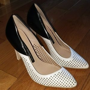 Black & White Pumps w/ Perforated Detail